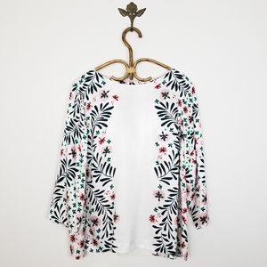 Boden Larissa Top in Ivory / Jungle Floral Size 16